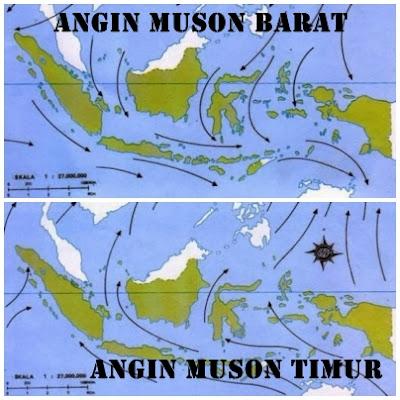 4 perbedaan angin muson barat dan angin muson timur