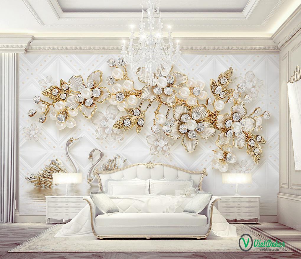 Tranh dán tường 3d hoa thiên nga trang trí phòng ngủ