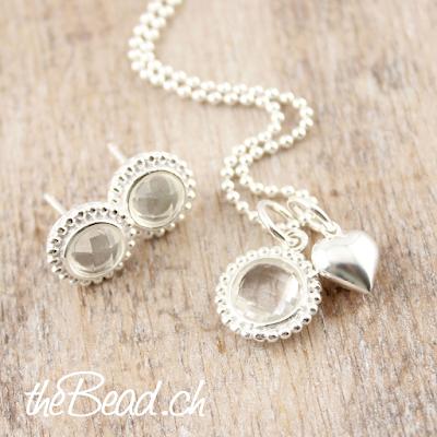 bergkristall geschenkset aus silber mit herz von thebead
