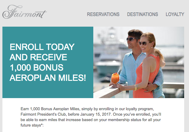 1 000 Free Aeroplan Miles When You Join Fairmont Hotels President S Club It Back