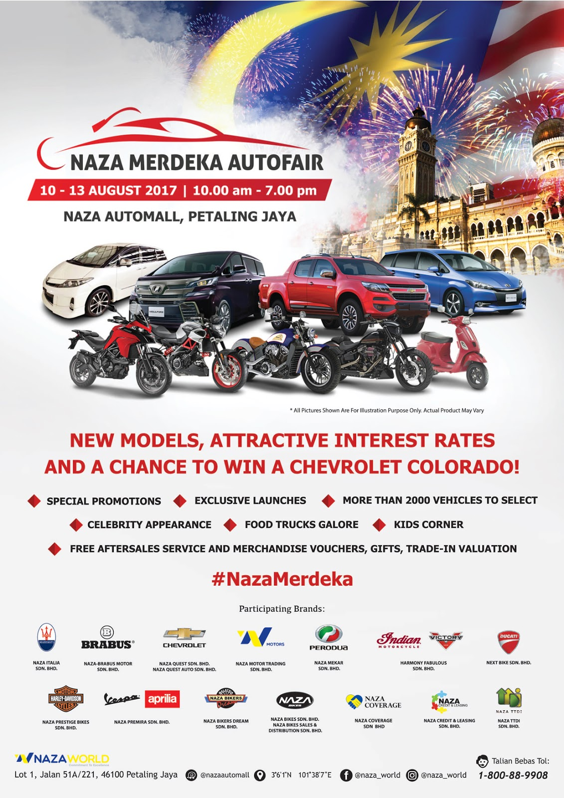Attractive deals are coming to town at the upcoming naza merdeka autofair 2017 to be held on 10th to 13th august 2017 the auto fair is held in conjunction