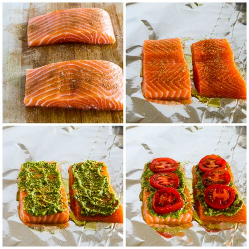Foil-Grilled Salmon With Pesto And Tomatoes Recipe — Dishmaps