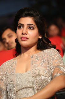 Samantha Ruth Prabhi in Designer Ghagra and Spicy CHoli with Ethnic Jacket at A AA Movie Audio Release