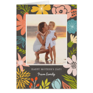 Photo Cards for Mom - Floral Frame Photo Mother's Day Card Personalized