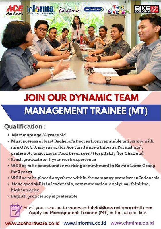 Lowongan Kerja Management Trainee MT Kawan Lama Retail