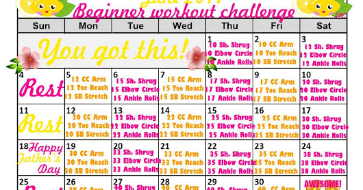June Fitness Calendars & Exercise Challenges