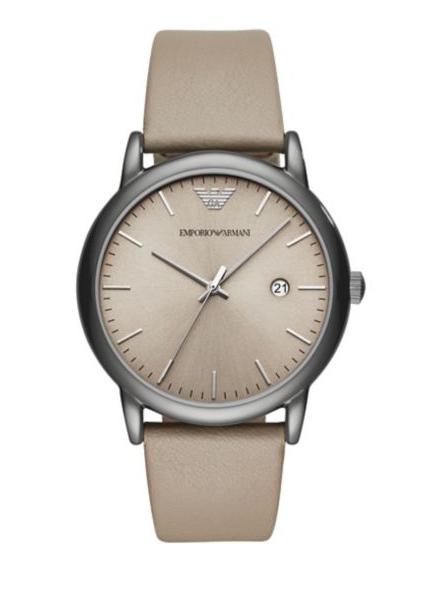 Emporio Armani Mens Luigi Silver-Tone and Black Chronograph Watch