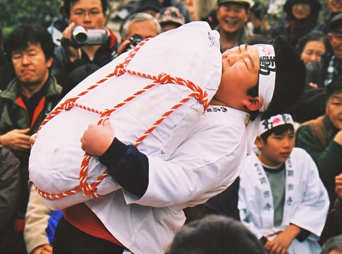 Chikara-Mochi Eyo (Power Lifting Battle) at Kenmitsuji Temple, Mimasaka, Okayama