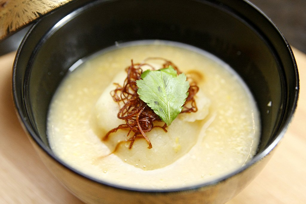 Rooted in Nature Corn Dashi Soup with Sweet Pork
