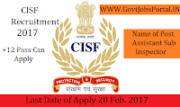 Central Industrial Security Force Recruitment 2017 – Assistant Sub-Inspector Officer