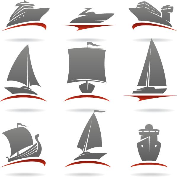 Logos de transporte barcos - Vector