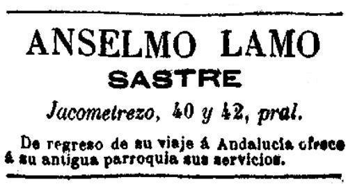 Anuncio de la sastrería de Anselmo Lamo publicado en Las Dominicales, 17-10-1891