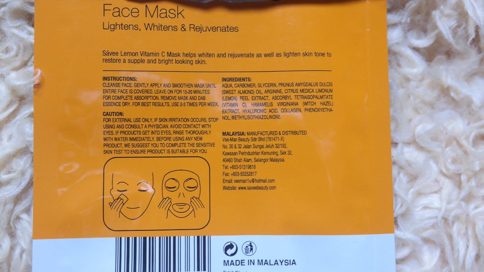 Ingredients Lemon Vitamin C Face Mask