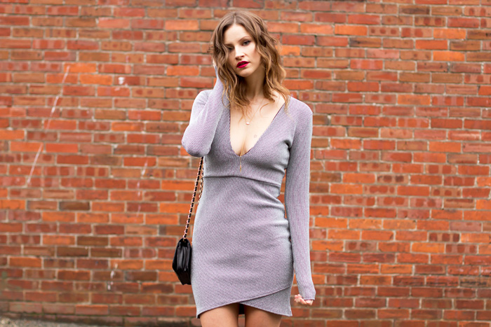 Vancouver Fashion Blogger, Alison Hutchinson, is wearing a Missguided plunging Neckline dress from Nordstrom
