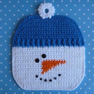 прихватка снеговик крючком