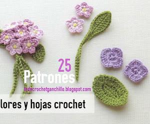 25 Flores para tejer a crochet ~ Patrones Gratis