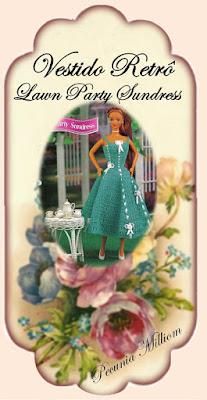 PAP vestido retrô em crochê para Barbie