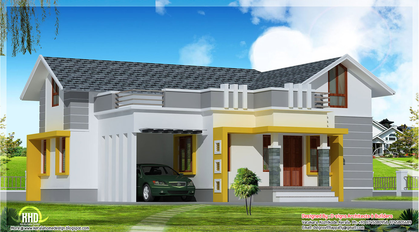 Stylish single floor home in 1200 kerala home for Single floor 4 bedroom house plans kerala