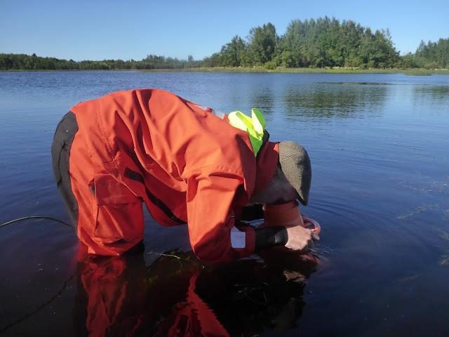 Pelastautumispukuinen henkilö katsoo vesikiikarilla pinnan alle