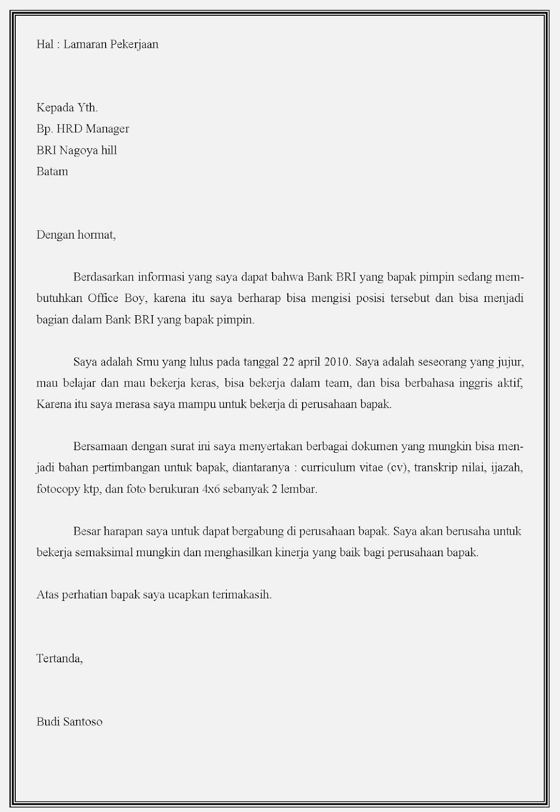 Contoh surat lamaran kerja bank BRI sebagai ob