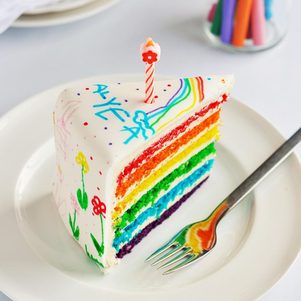 Making a Beautiful Rainbow Cake