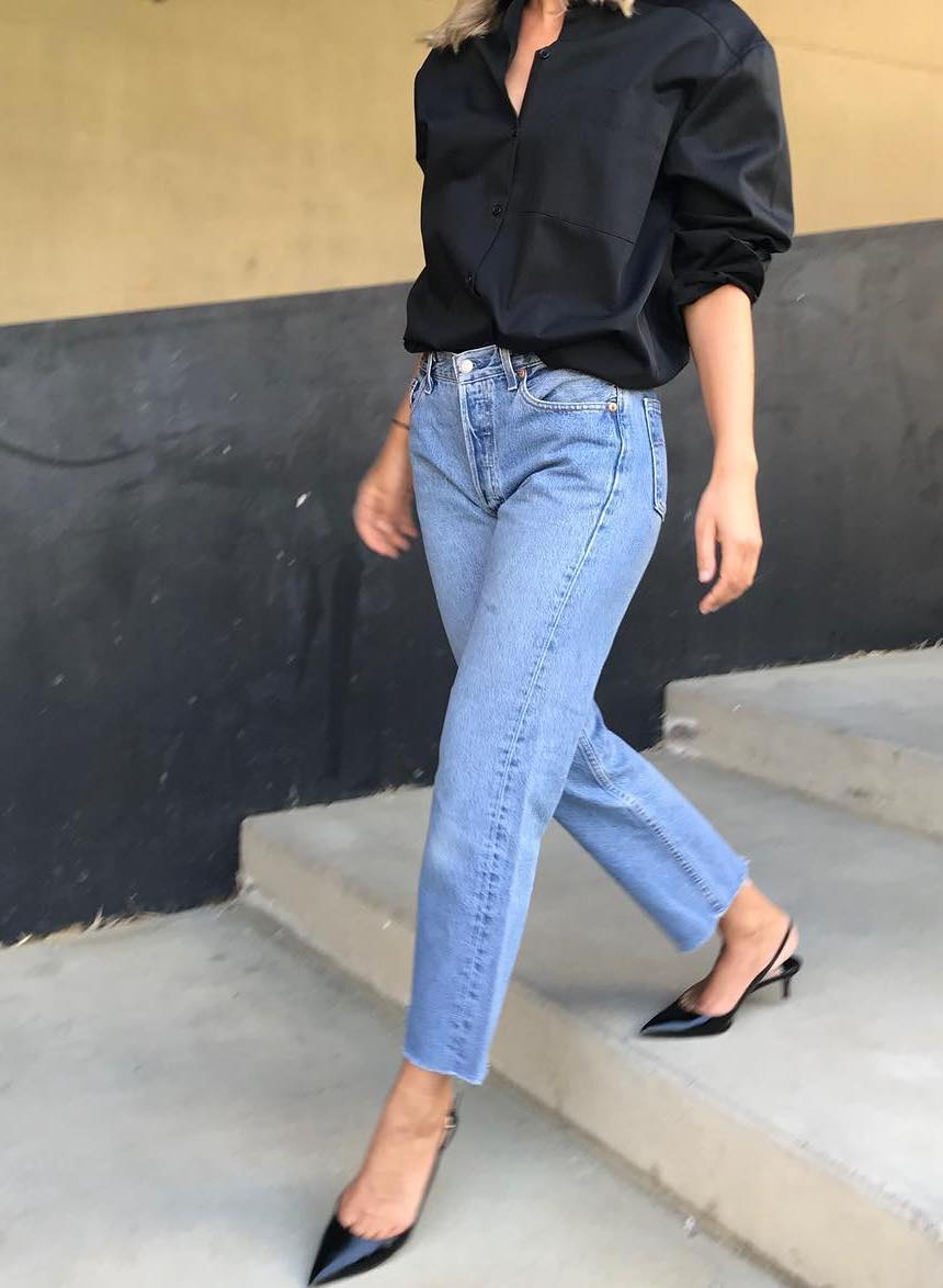 This Stylish 3-Piece Instagram Outfit — French-Girl Look With a Black Top, Straight-Leg Raw-Hem Jeans, and Black Slingback Heels