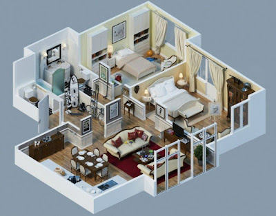 2 bedroom 3d house plans with gym and sport room