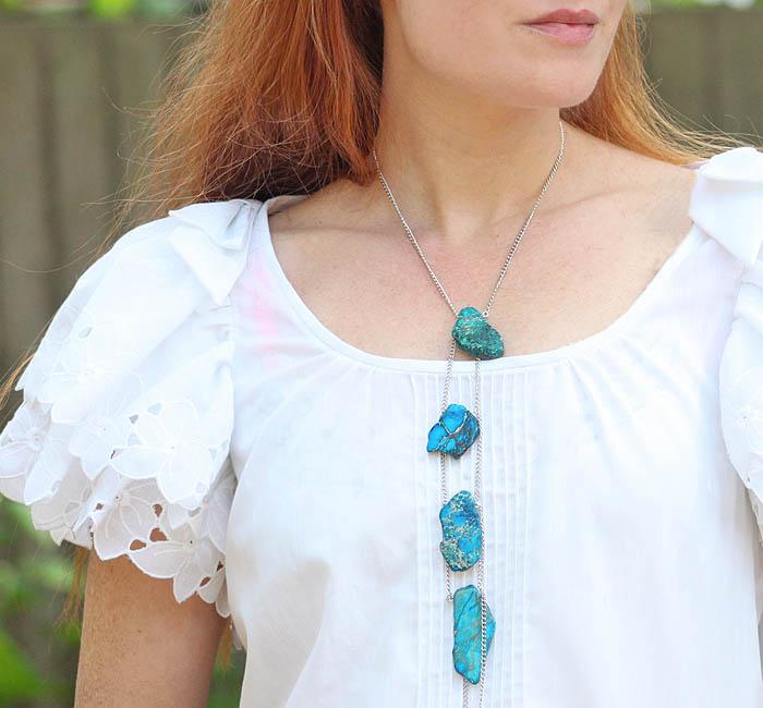 DIY Stone Lariat Necklace