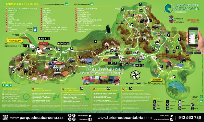 Mapa del Parque de la Naturaleza de Cabárceno