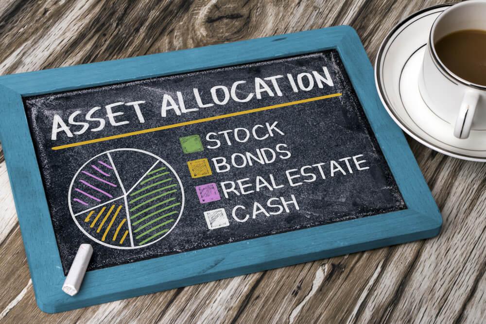 Asset allocation written on a colored mini-chalkboard