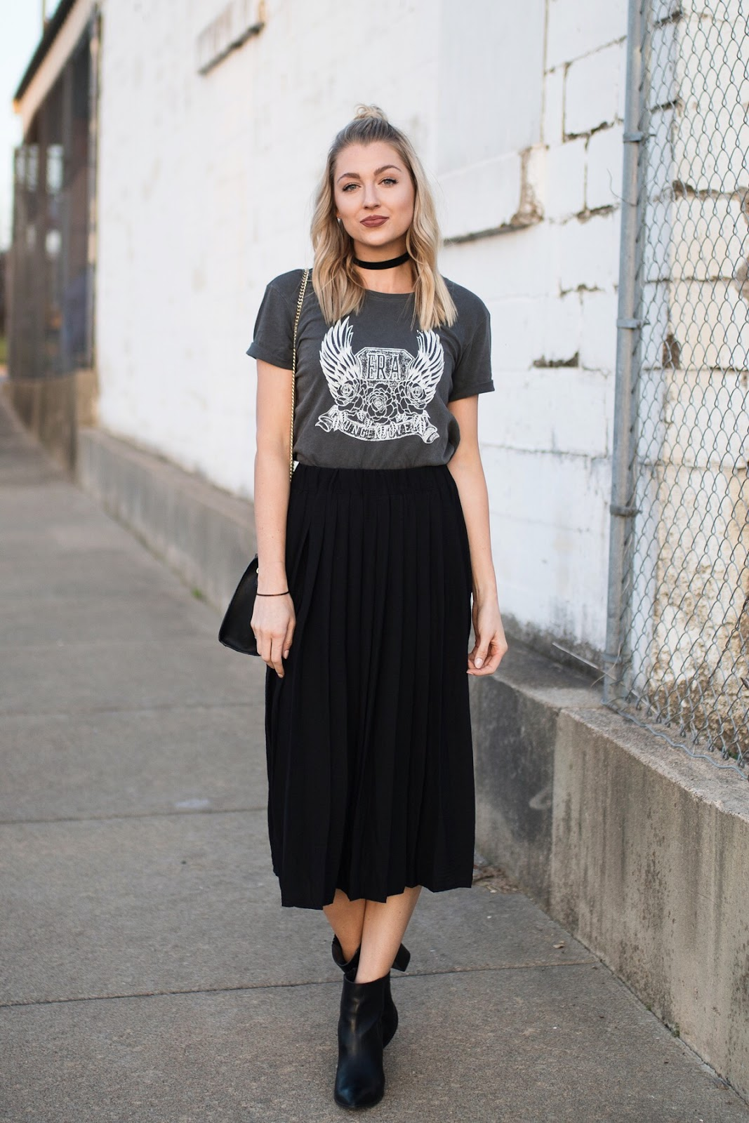 Graphic tee dressed up with a skirt