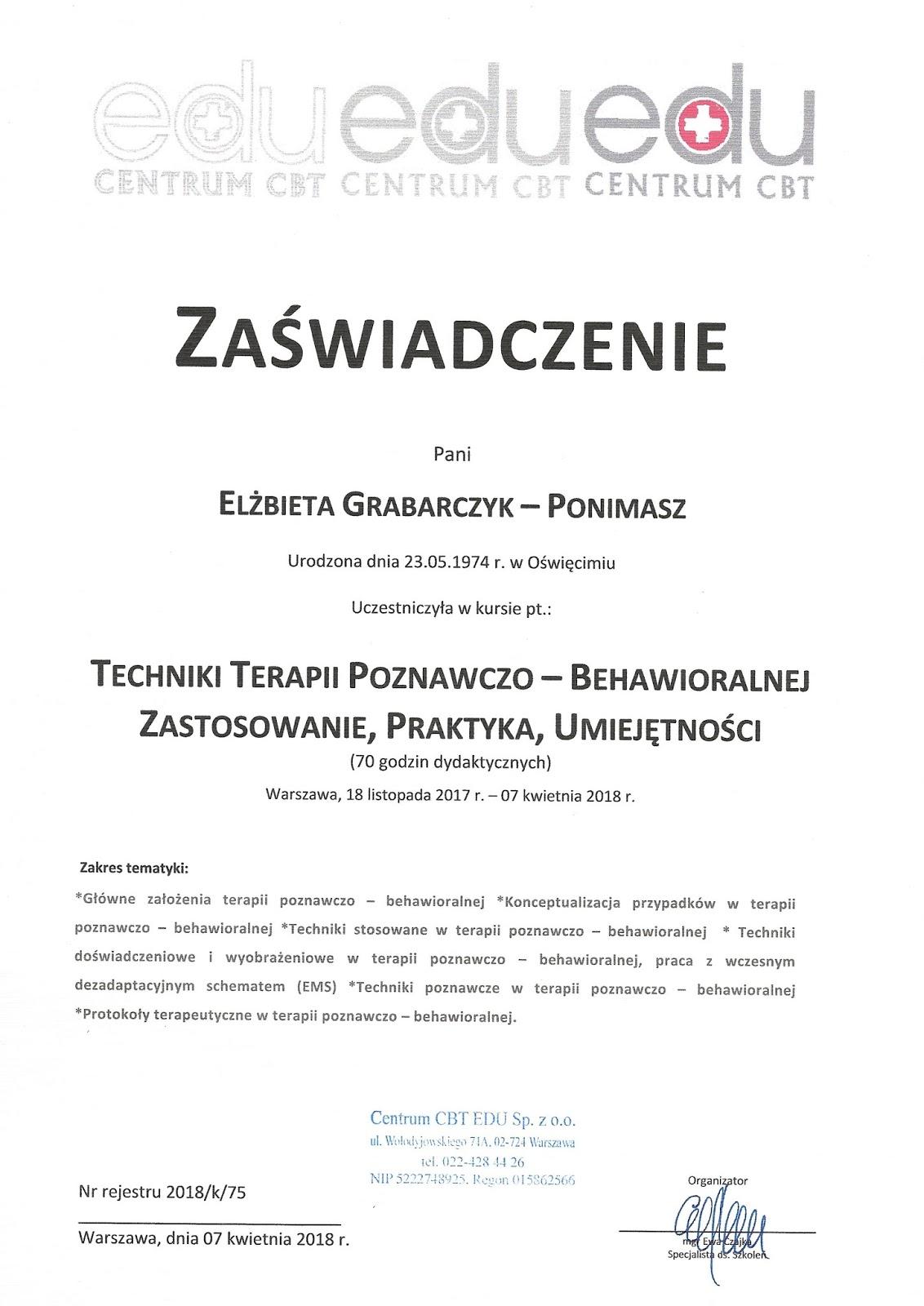 Techniki terapii poznawczo-behawioralnej - dobry psycholog Warszawa