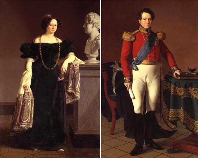 Portraits of king Christian VIII of Denmark and queen Caroline Amalie