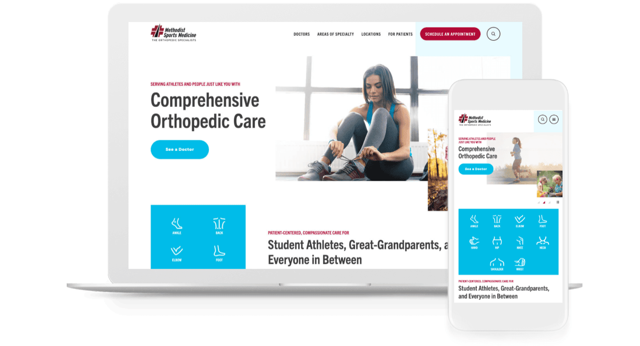 Methodist Sports Medicine's redesigned orthopedic website looks as good on mobile as it does on a desktop computer