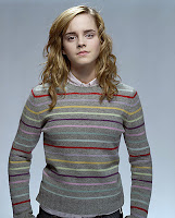 The lovely Hermione in a sweater.  The pattern is inspired by the one she wore in The Order of the Phoenix.