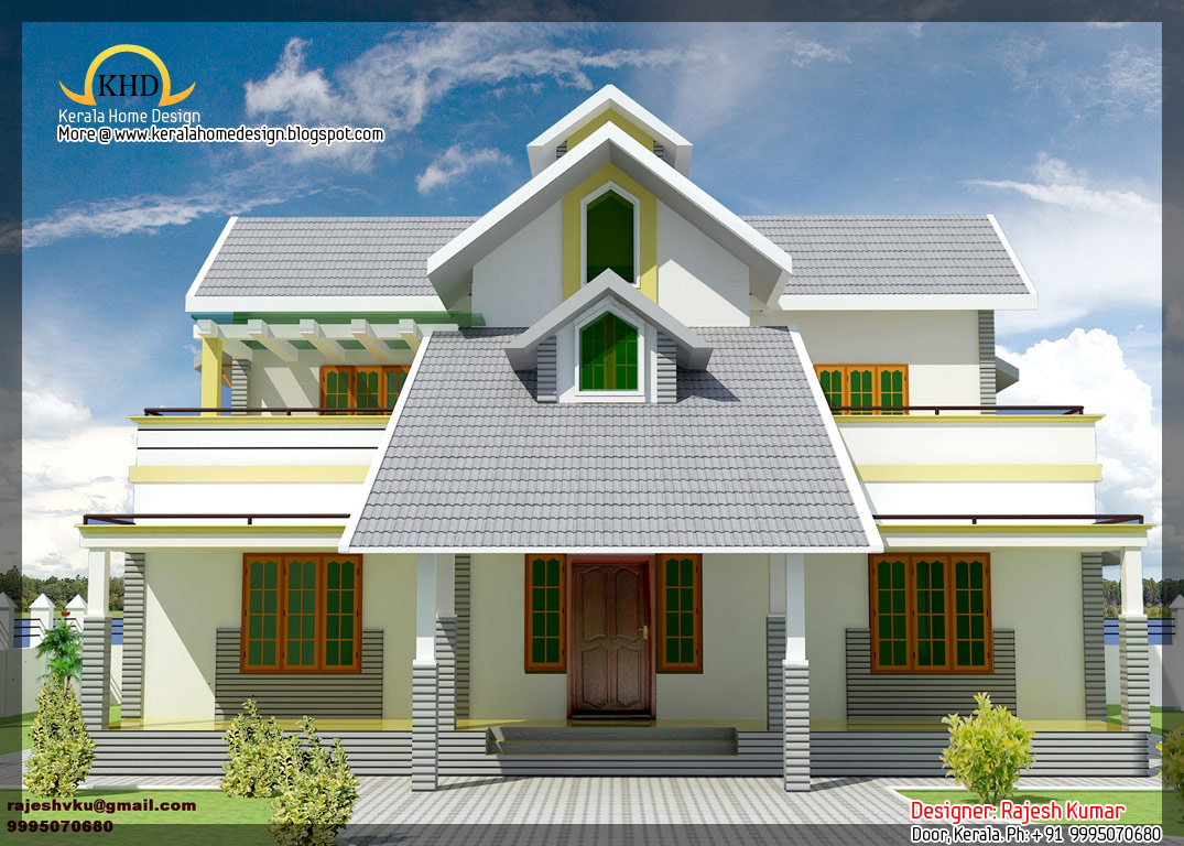 House elevation and plan 2300 sq ft kerala home for Kerala house construction plans