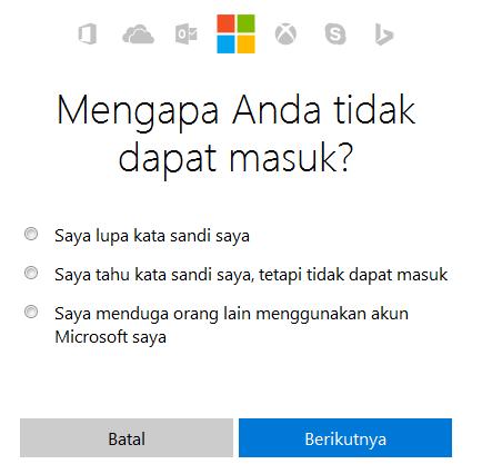 Pilihan alasan tidak dapat login ke windows 8/8.1