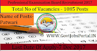 Professional Examination Board Recruitment 2017 - 1085 Patwari Posts