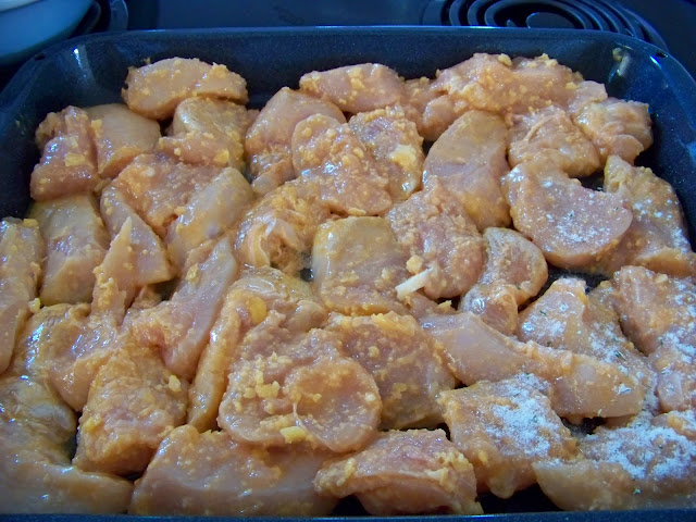 Chicken with hot sauce and butter for Buffalo Bites
