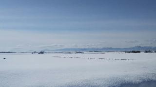 「北欧の風道の駅とうべつ」中庭の冬景色