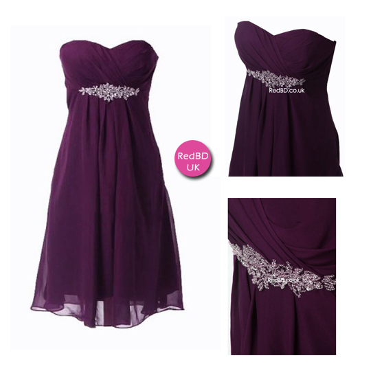 Chiffon Sweetheart Strapless Empire Waist with Beaded Details Short Bridesmaid Dress