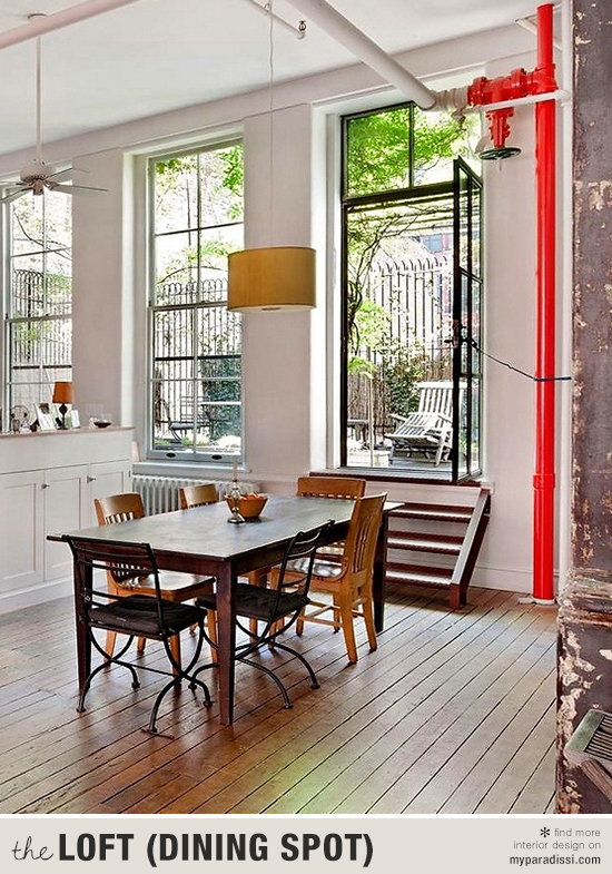 A casual tribeca loft dining area