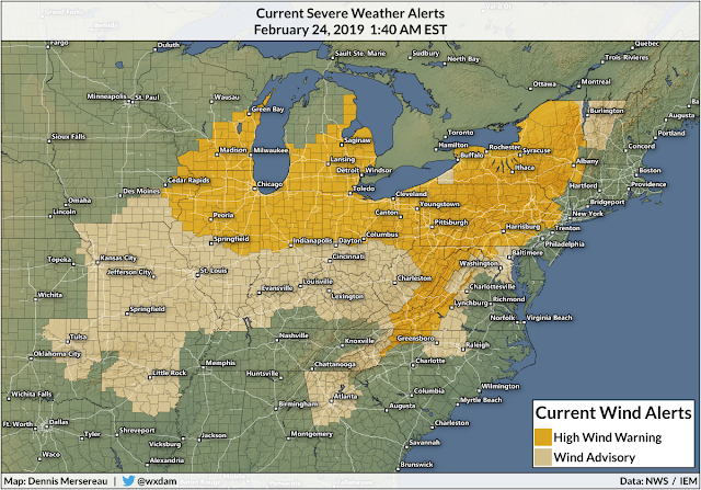 Power Outages Likely as Intense Winds Blow Across Much of the Eastern U.S. on Sunday