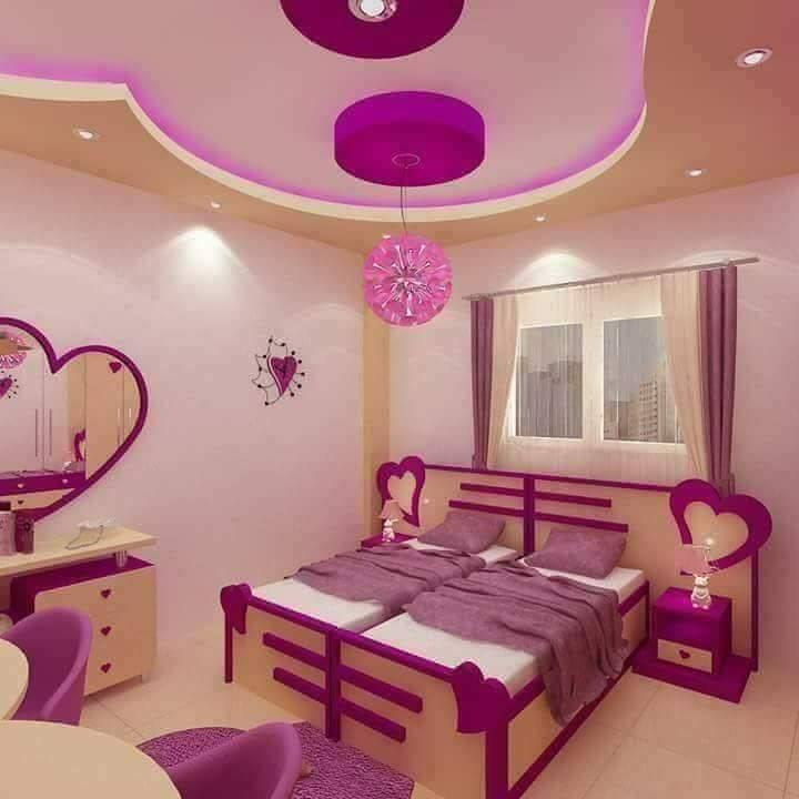 Purple Kids Room: Purple Toddler Girl Room Design With 2 Beds