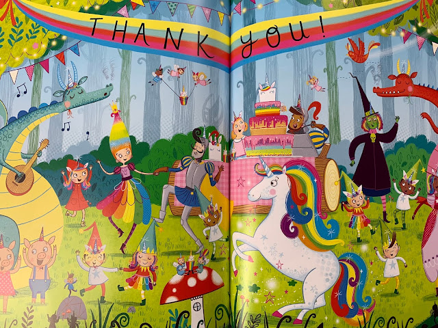A colourful page showing lots of mythical creatures having a party