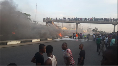 Pandemonium As Fuel Tanker Goes Up In Flames At Cele Bus Stop, Lagos. Photos