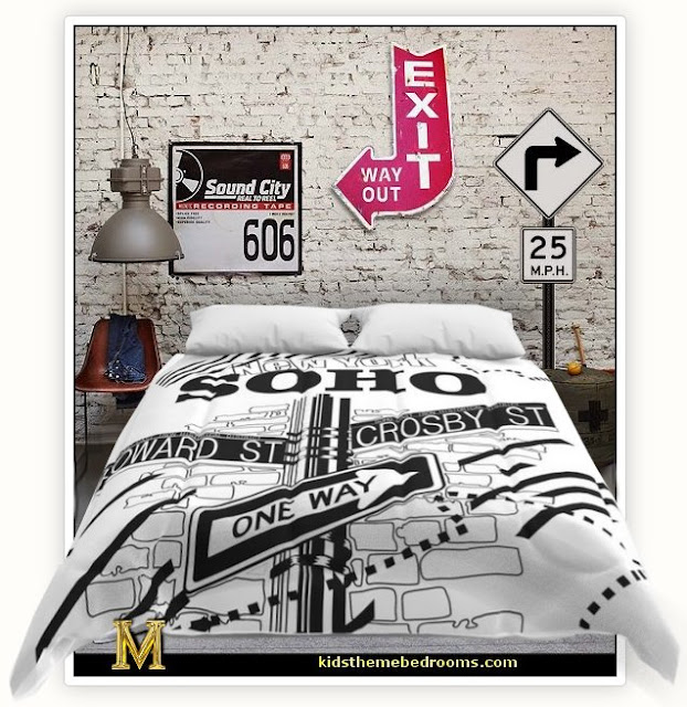 urban bedding city bedding   Urban theme bedroom ideas - urban bedrooms - Urban skater theme - Urban style decorating skateboarding theme - Urban bedding -  graffiti themed skater park - city living urban chic decorating ideas - city theme bedrooms - New York City bedding - city decor