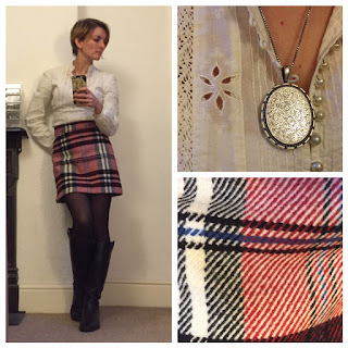 Warehouse victorian blouse and Topshop tartan skirt