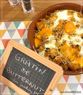 image Gratin de butternut moutarde, lardons, oignons et œufs mi-cuits