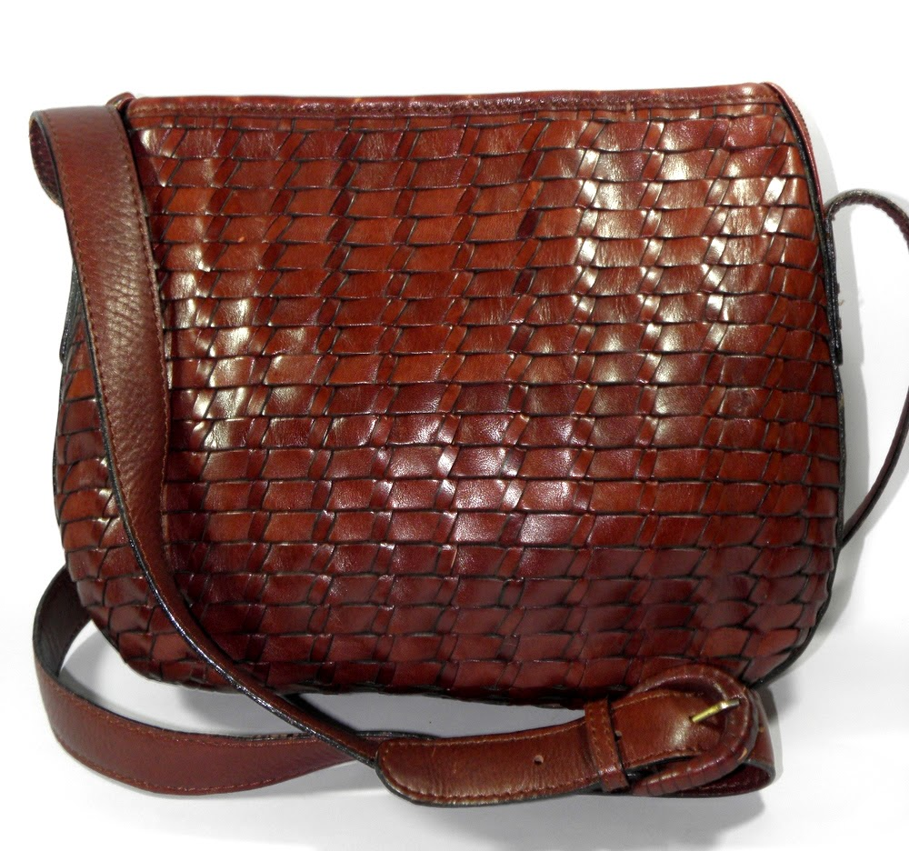 Fossil Basketweave Brown Leather Purse